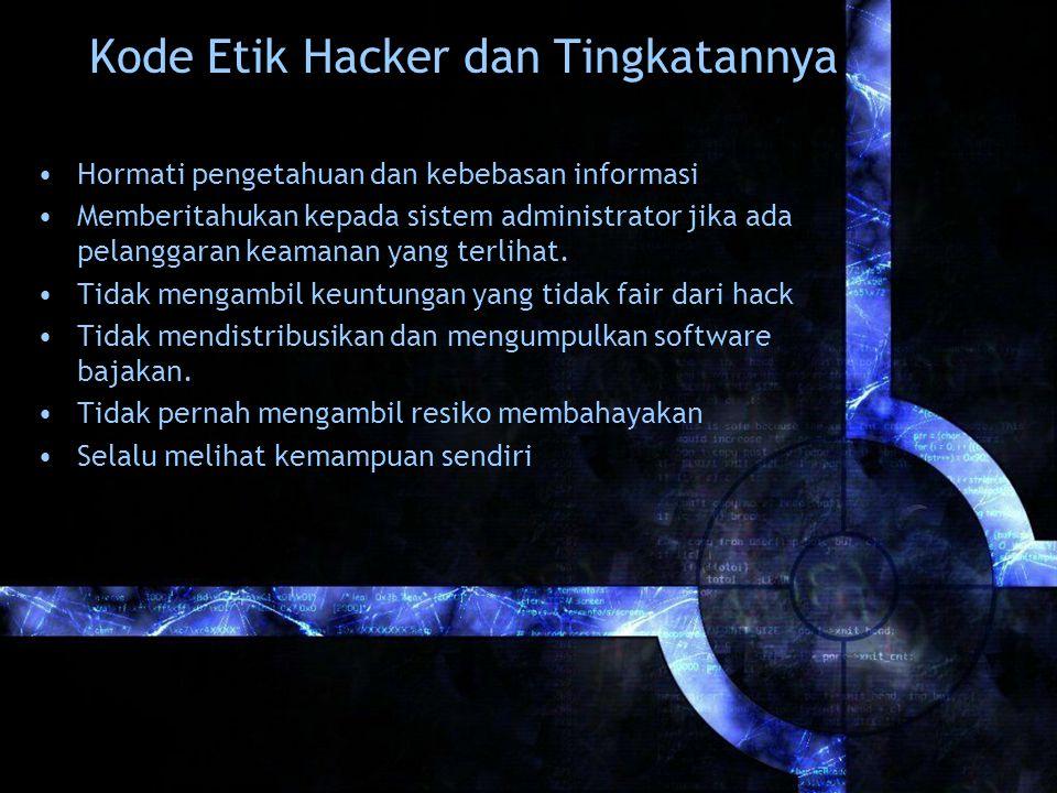 Kode Etik Hacker dan Tingkatannya Hormati pengetahuan dan kebebasan informasi Memberitahukan kepada sistem administrator jika ada pelanggaran keamanan yang terlihat.