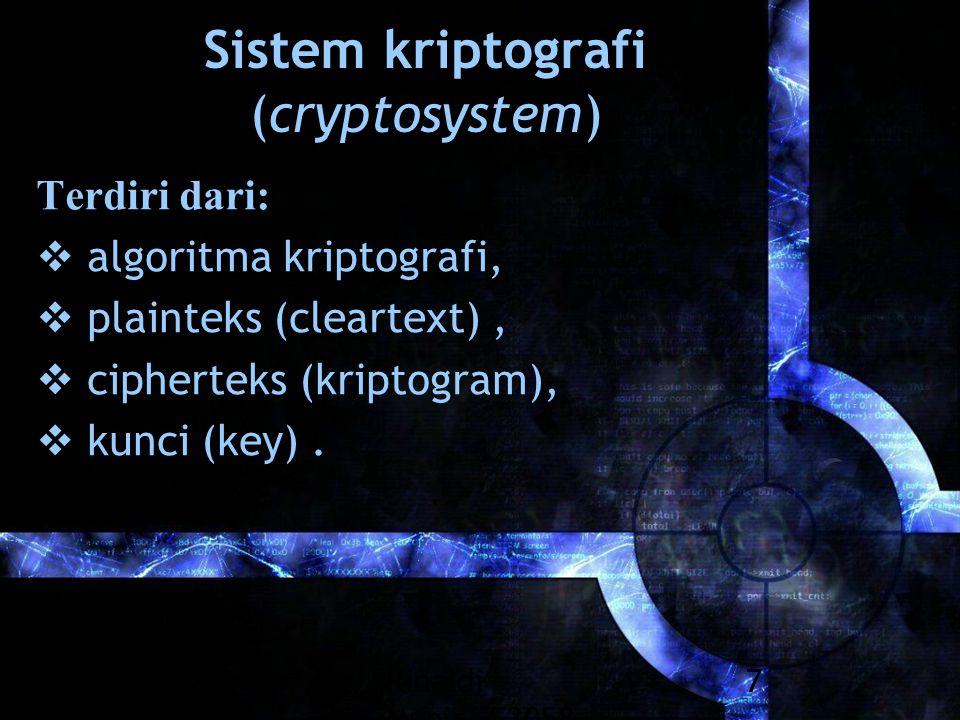 Rinaldi Munir/IF3058 Kriptografi 7 Sistem kriptografi (cryptosystem) Terdiri dari:  algoritma kriptografi,  plainteks (cleartext),  cipherteks (kri