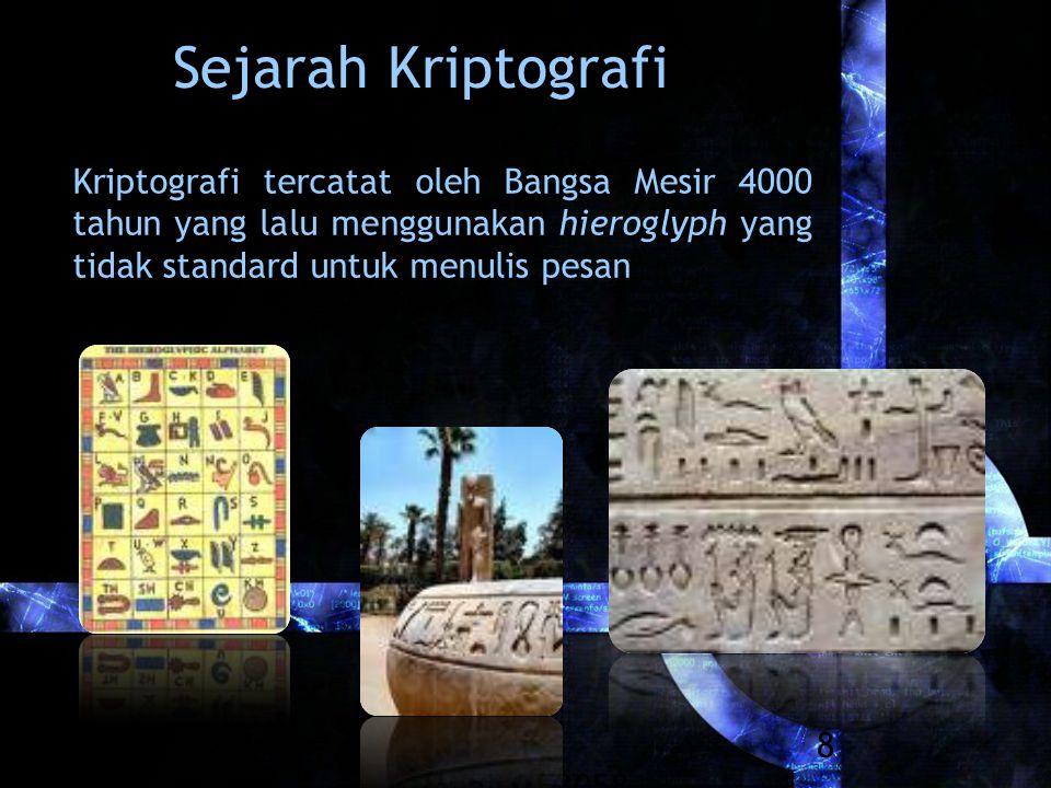 Rinaldi Munir/IF3058 Kriptografi 8 Sejarah Kriptografi Kriptografi tercatat oleh Bangsa Mesir 4000 tahun yang lalu menggunakan hieroglyph yang tidak standard untuk menulis pesan