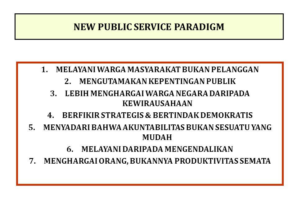 NEW PUBLIC SERVICE PARADIGM 1.MELAYANI WARGA MASYARAKAT BUKAN PELANGGAN 2.MENGUTAMAKAN KEPENTINGAN PUBLIK 3.LEBIH MENGHARGAI WARGA NEGARA DARIPADA KEW
