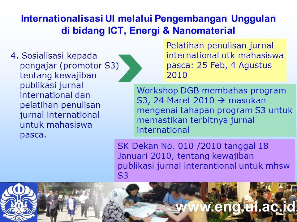 www.eng.ui.ac.id Internationalisasi UI melalui Pengembangan Unggulan di bidang ICT, Energi & Nanomaterial 4.