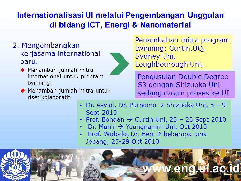 www.eng.ui.ac.id Internationalisasi UI melalui Pengembangan Unggulan di bidang ICT, Energi & Nanomaterial Penambahan mitra program twinning: Curtin,UQ, Sydney Uni, Loughbourough Uni, Dr.