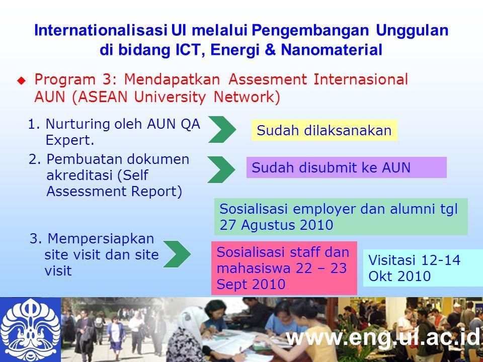 www.eng.ui.ac.id  Program 3: Mendapatkan Assesment Internasional AUN (ASEAN University Network) Internationalisasi UI melalui Pengembangan Unggulan di bidang ICT, Energi & Nanomaterial 1.
