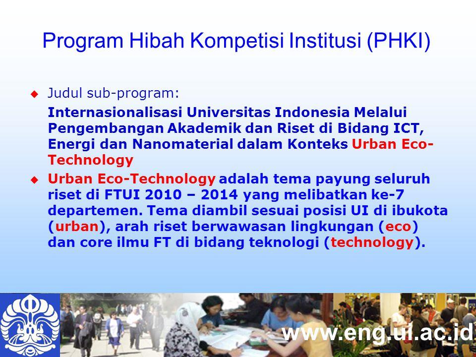 www.eng.ui.ac.id  Judul sub-program: Internasionalisasi Universitas Indonesia Melalui Pengembangan Akademik dan Riset di Bidang ICT, Energi dan Nanomaterial dalam Konteks Urban Eco- Technology  Urban Eco-Technology adalah tema payung seluruh riset di FTUI 2010 – 2014 yang melibatkan ke-7 departemen.