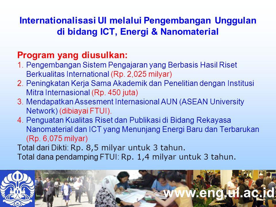 www.eng.ui.ac.id Program yang diusulkan: 1.Pengembangan Sistem Pengajaran yang Berbasis Hasil Riset Berkualitas International (Rp.