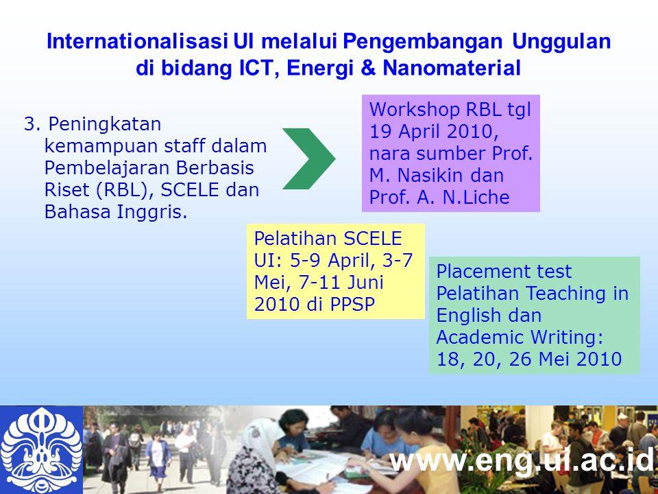 www.eng.ui.ac.id Internationalisasi UI melalui Pengembangan Unggulan di bidang ICT, Energi & Nanomaterial 3.