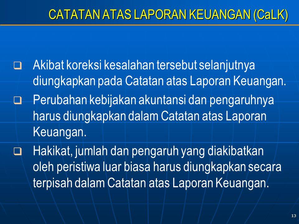 13 CATATAN ATAS LAPORAN KEUANGAN (CaLK)   Akibat koreksi kesalahan tersebut selanjutnya diungkapkan pada Catatan atas Laporan Keuangan.