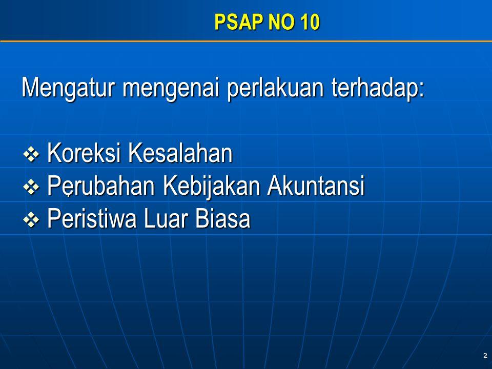 2 PSAP NO 10 Mengatur mengenai perlakuan terhadap:  Koreksi Kesalahan  Perubahan Kebijakan Akuntansi  Peristiwa Luar Biasa.
