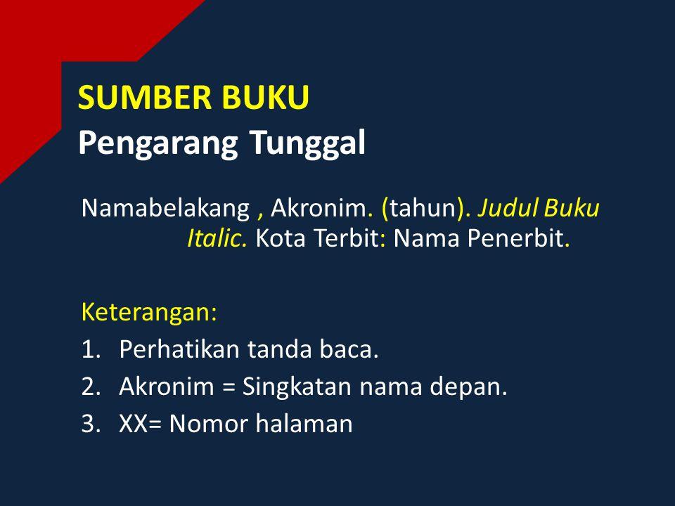 SUMBER BUKU Pengarang Tunggal Namabelakang, Akronim.