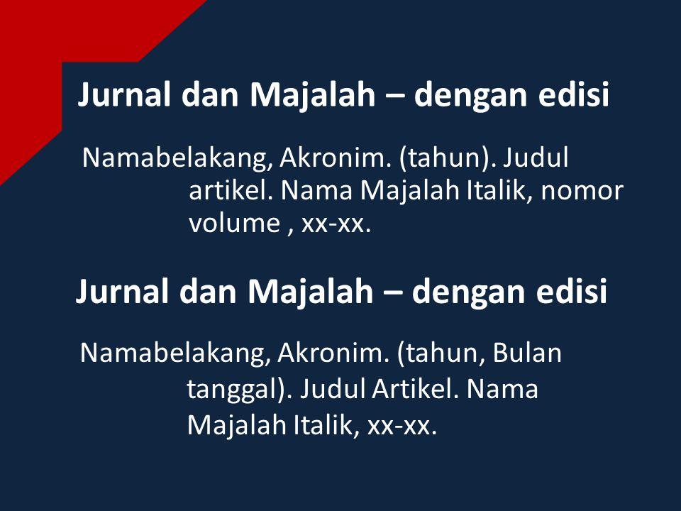 Jurnal dan Majalah – dengan edisi Namabelakang, Akronim.