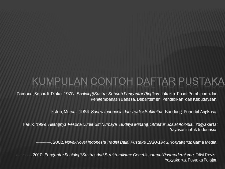 Damono, Sapardi Djoko. 1978. Sosiologi Sastra, Sebuah Pengantar Ringkas. Jakarta: Pusat Pembinaan dan Pengembangan Bahasa, Departemen Pendidikan dan K
