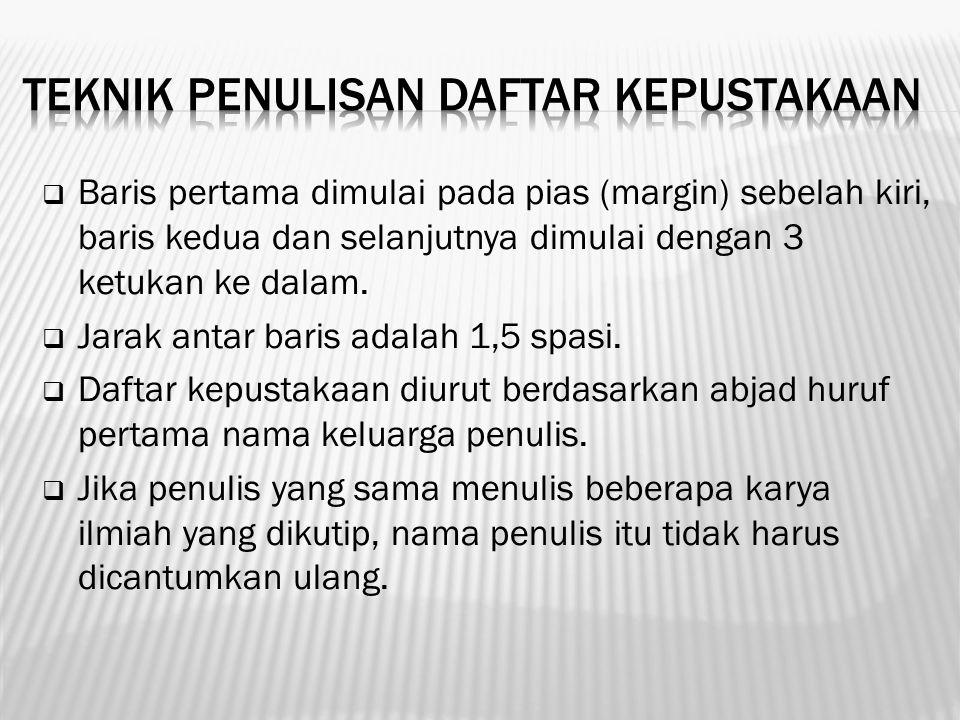 Definisi daftar pustaka atau bibliografi menurut Kamus Besar Bahasa Indonesia (KBBI) adalah daftar yang mencantumkan judul buku, nama pengarang, penerbit dan sebagainya yang ditempatkan pada bagian akhir suatu karangan atau buku dan disusun berdasarkan abjad.
