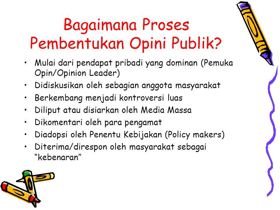 Bagaimana Proses Pembentukan Opini Publik? Mulai dari pendapat pribadi yang dominan (Pemuka Opin/Opinion Leader) Didiskusikan oleh sebagian anggota ma