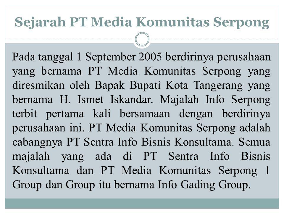 Sejarah PT Media Komunitas Serpong Pada tanggal 1 September 2005 berdirinya perusahaan yang bernama PT Media Komunitas Serpong yang diresmikan oleh Bapak Bupati Kota Tangerang yang bernama H.