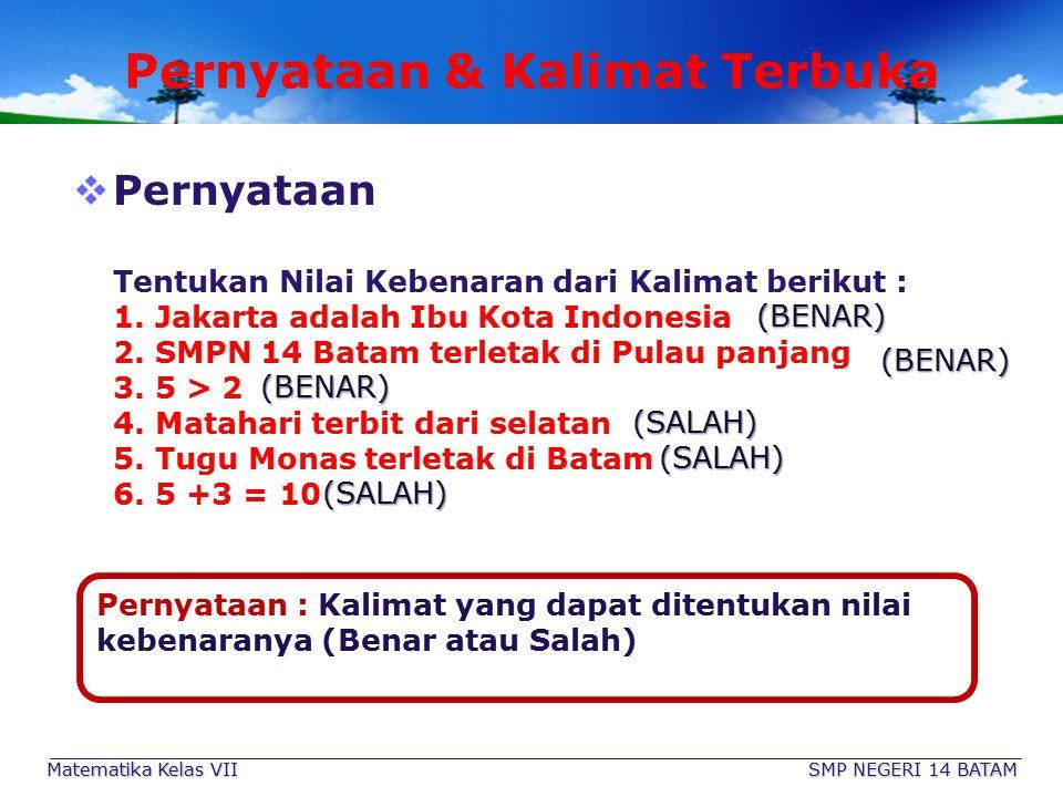 SMP NEGERI 14 BATAM Matematika Kelas VII Penyelesaian PLSV 3 Cara untuk menyelesaikan PLSV 1 Dengan Subtitusi 2 Dengan Penyelesaian bentuk SETARA (Equivalen) 3 Dengan mengumpul- kan suku yang sejenis Langkah-Langkah 1.