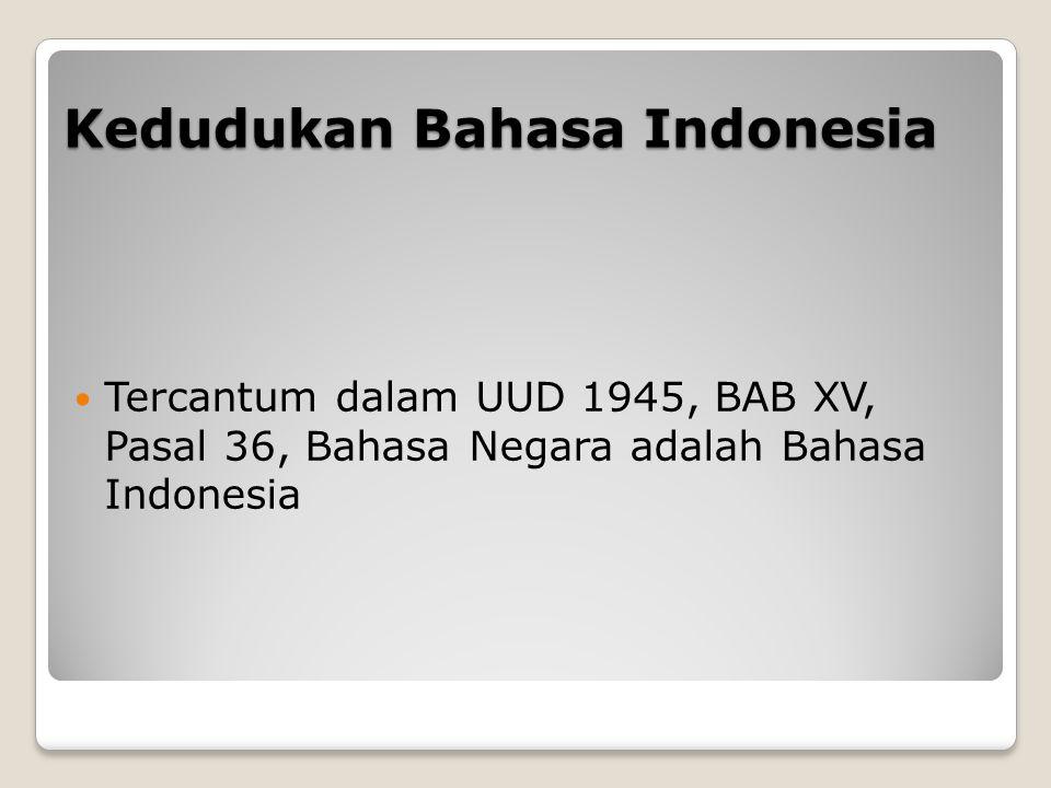 Kedudukan Bahasa Indonesia Tercantum dalam UUD 1945, BAB XV, Pasal 36, Bahasa Negara adalah Bahasa Indonesia