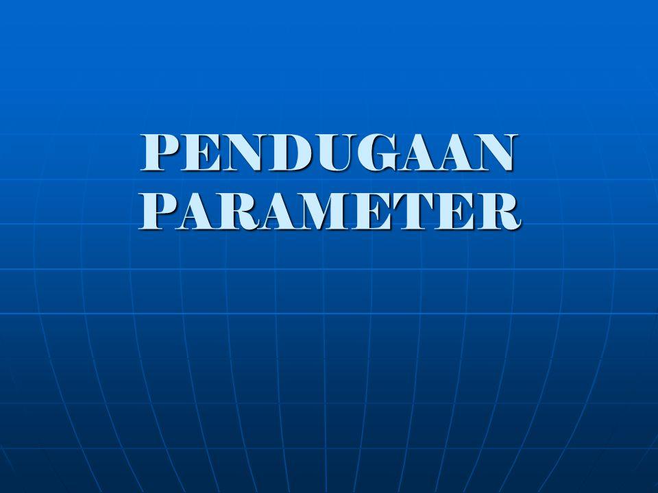 Pendugaan Proses yang menggunakan sampel statistik untuk menduga/ menaksir hubungan parameter populasi yg tidak diketahui Proses yang menggunakan sampel statistik untuk menduga/ menaksir hubungan parameter populasi yg tidak diketahui Penduga : suatu statistik yg digunakan untuk menduga suatu parameter Penduga : suatu statistik yg digunakan untuk menduga suatu parameter Estimasi: Pengukuran terhadap nilai parameternya (populasi) dari data sampel yang diketahui Estimasi: Pengukuran terhadap nilai parameternya (populasi) dari data sampel yang diketahui