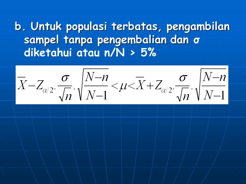 b. Untuk populasi terbatas, pengambilan sampel tanpa pengembalian dan b. Untuk populasi terbatas, pengambilan sampel tanpa pengembalian dan σ diketahu