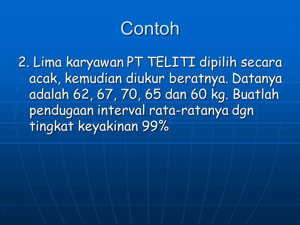Contoh 2. Lima karyawan PT TELITI dipilih secara acak, kemudian diukur beratnya. Datanya adalah 62, 67, 70, 65 dan 60 kg. Buatlah pendugaan interval r