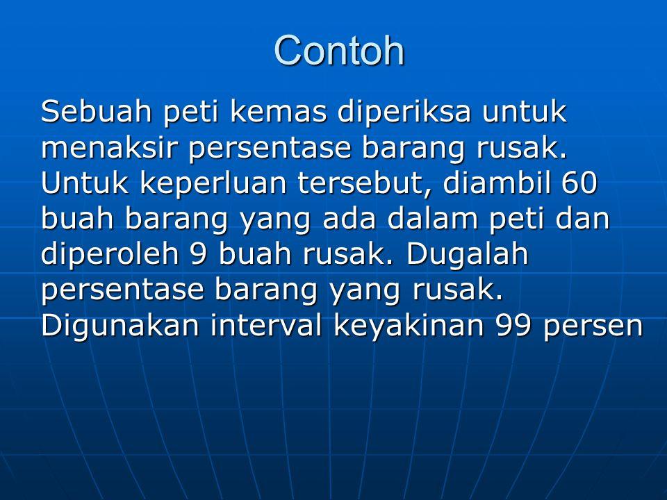 Contoh Contoh Sebuah peti kemas diperiksa untuk menaksir persentase barang rusak. Untuk keperluan tersebut, diambil 60 buah barang yang ada dalam peti
