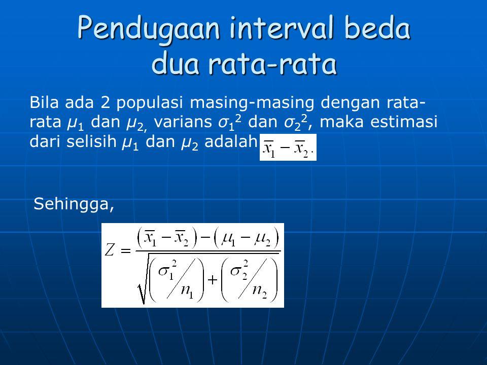 Pendugaan interval beda dua rata-rata Bila ada 2 populasi masing-masing dengan rata- rata μ 1 dan μ 2, varians σ 1 2 dan σ 2 2, maka estimasi dari sel