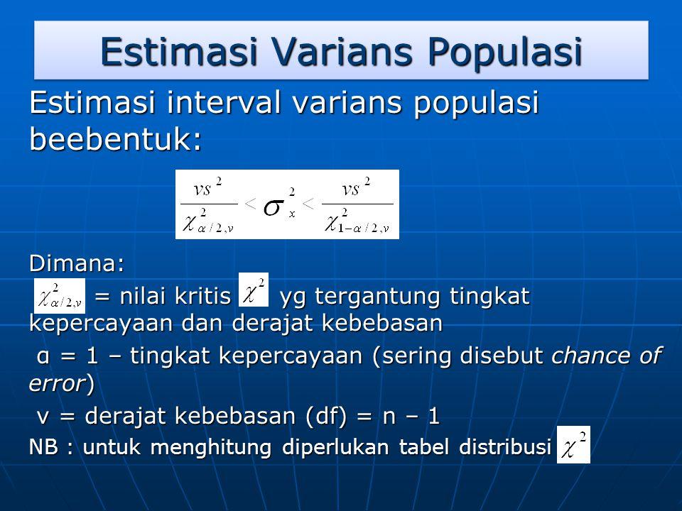 Estimasi Varians Populasi Estimasi interval varians populasi beebentuk: Dimana: = nilai kritis yg tergantung tingkat kepercayaan dan derajat kebebasan