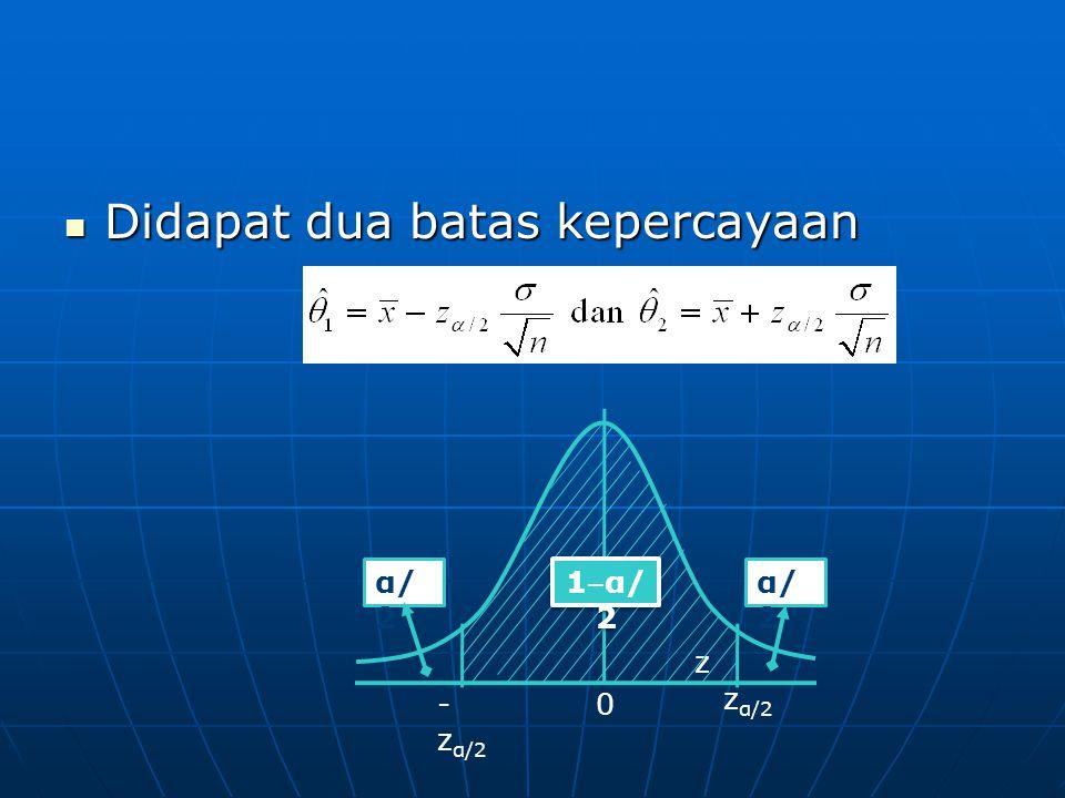 Didapat dua batas kepercayaan Didapat dua batas kepercayaan z z α/2 - z α/2 0 α/ 2 1 ‒ α/ 2