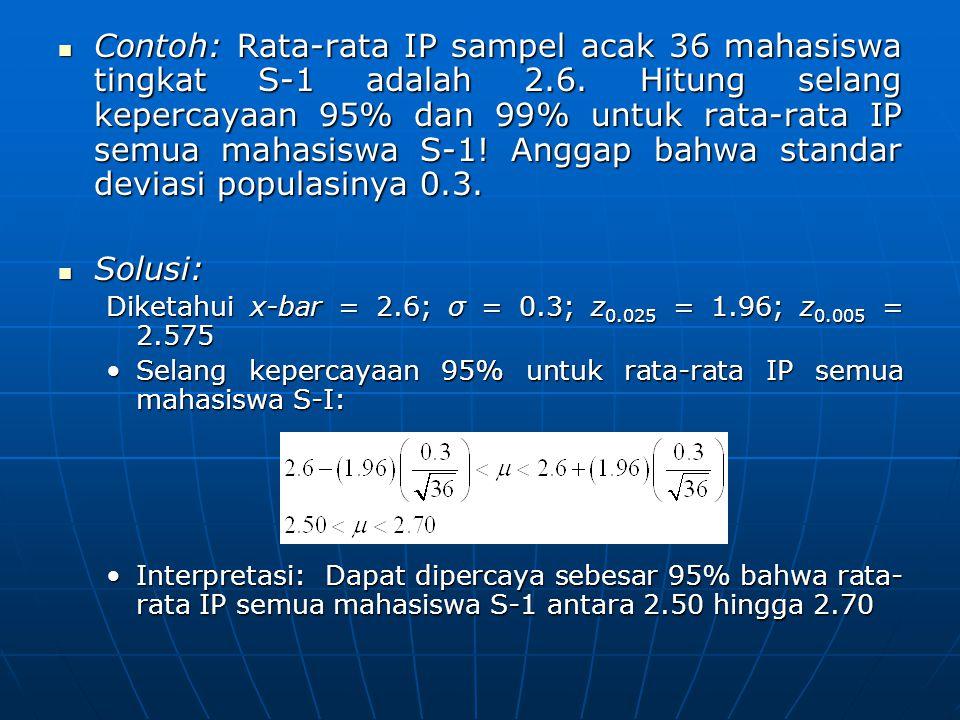 Contoh: Rata-rata IP sampel acak 36 mahasiswa tingkat S-1 adalah 2.6. Hitung selang kepercayaan 95% dan 99% untuk rata-rata IP semua mahasiswa S-1! An