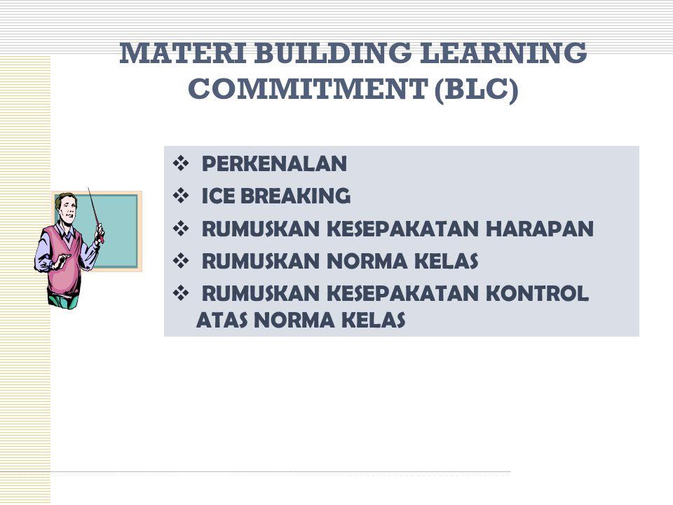 MATERI BUILDING LEARNING COMMITMENT (BLC)  PERKENALAN  ICE BREAKING  RUMUSKAN KESEPAKATAN HARAPAN  RUMUSKAN NORMA KELAS  RUMUSKAN KESEPAKATAN KON