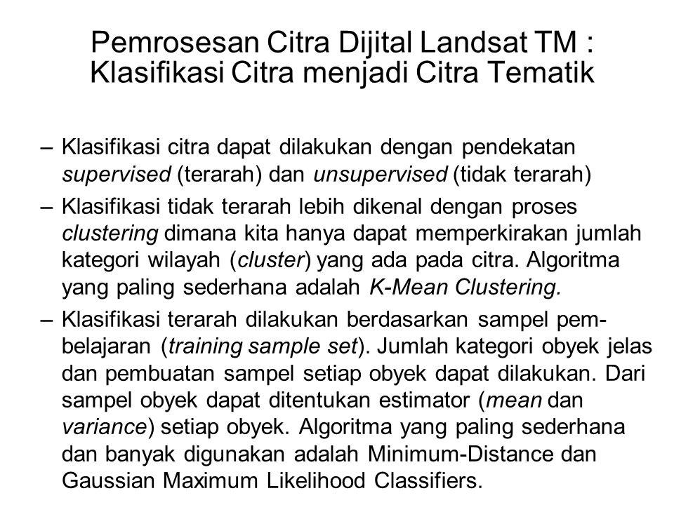 Pemrosesan Citra Dijital Landsat TM : Klasifikasi Citra menjadi Citra Tematik –Klasifikasi citra dapat dilakukan dengan pendekatan supervised (terarah