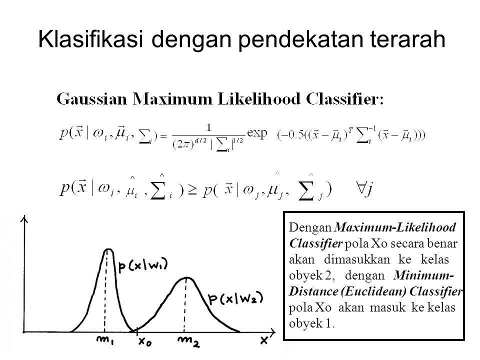 Klasifikasi dengan pendekatan terarah Dengan Maximum-Likelihood Classifier pola Xo secara benar akan dimasukkan ke kelas obyek 2, dengan Minimum- Dist