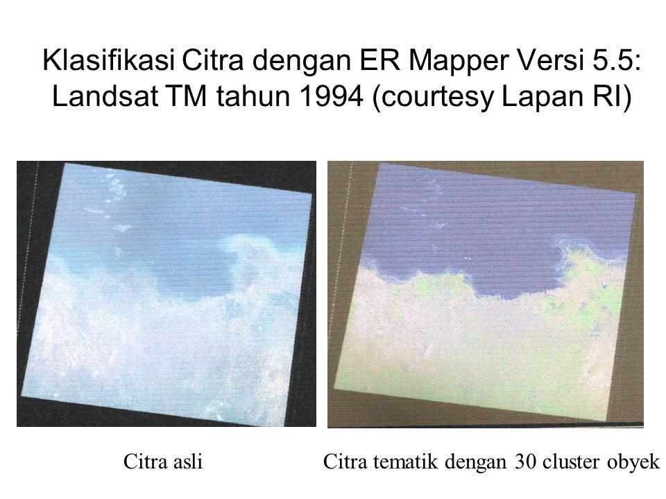 Klasifikasi Citra dengan ER Mapper Versi 5.5: Landsat TM tahun 1994 (courtesy Lapan RI) Citra asli Citra tematik dengan 30 cluster obyek