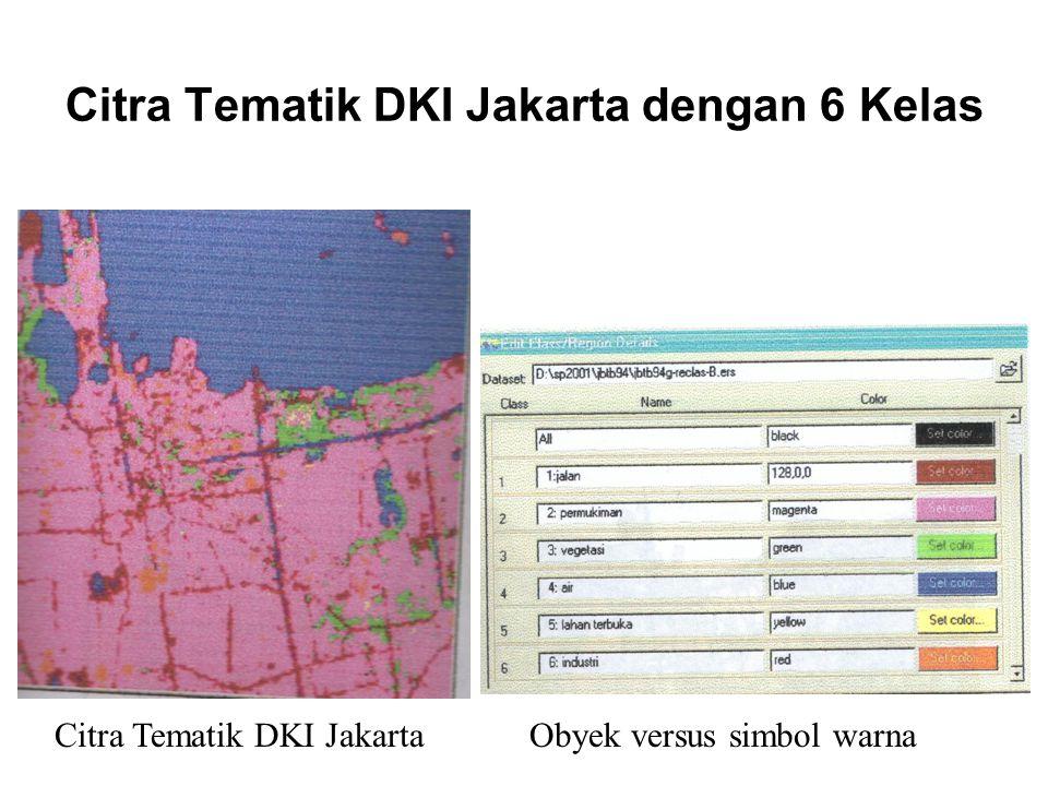 Citra Tematik DKI Jakarta dengan 6 Kelas Citra Tematik DKI Jakarta Obyek versus simbol warna