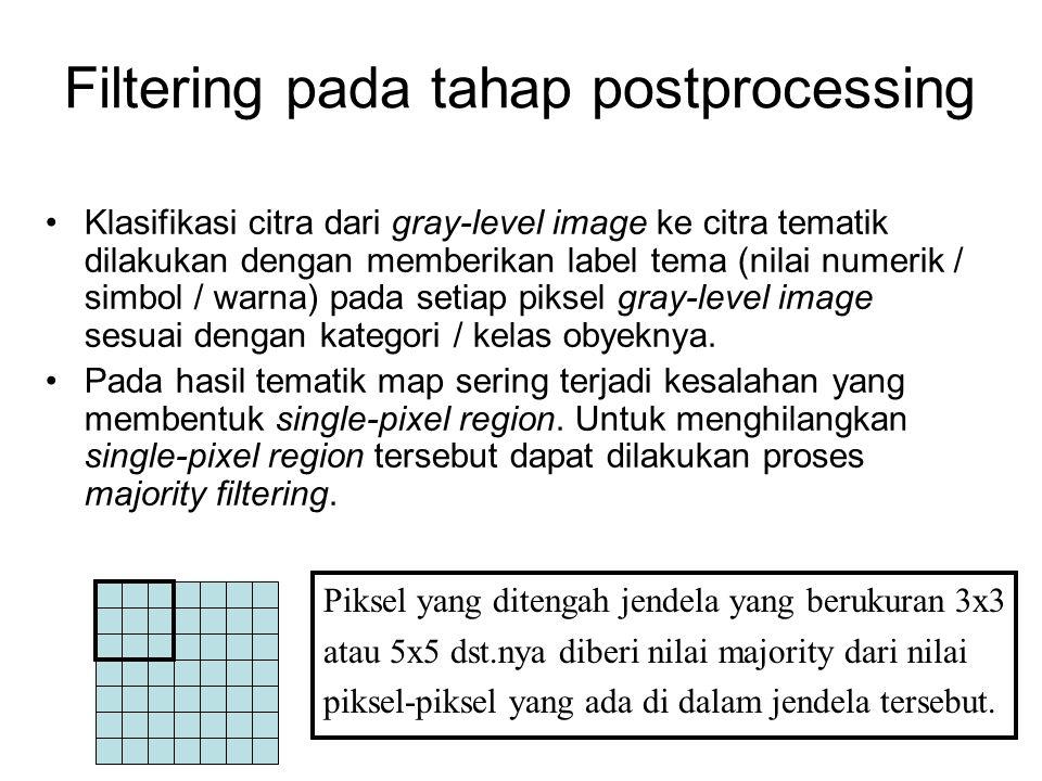 Klasifikasi citra dari gray-level image ke citra tematik dilakukan dengan memberikan label tema (nilai numerik / simbol / warna) pada setiap piksel gr