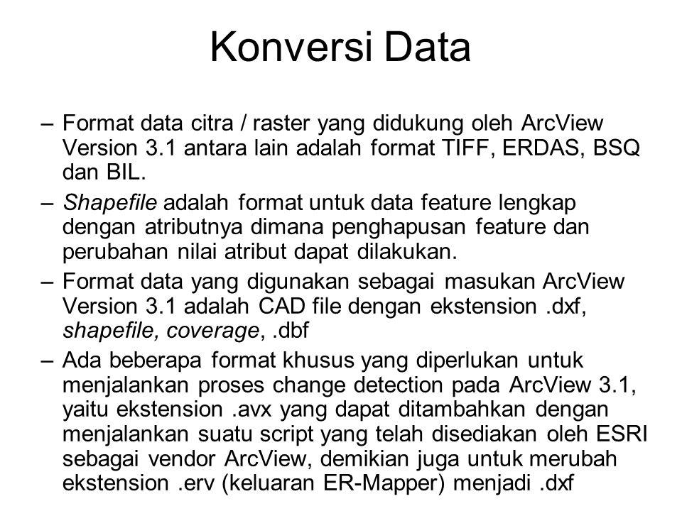 Konversi Data –Format data citra / raster yang didukung oleh ArcView Version 3.1 antara lain adalah format TIFF, ERDAS, BSQ dan BIL. –Shapefile adalah