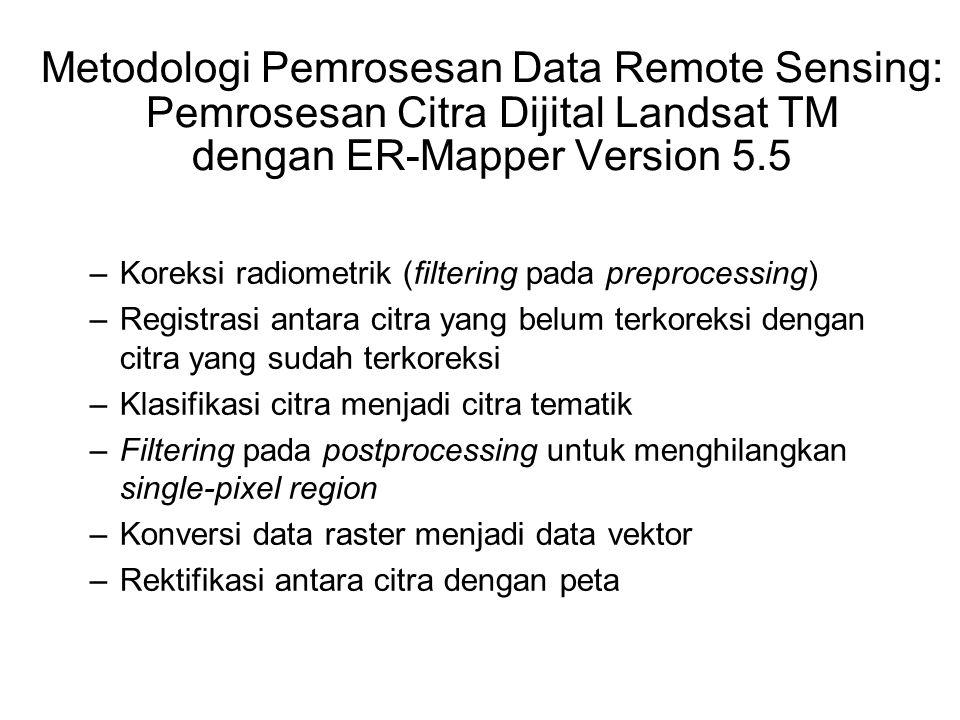 Metodologi Pemrosesan Data Remote Sensing: Pemrosesan Citra Dijital Landsat TM dengan ER-Mapper Version 5.5 –Koreksi radiometrik (filtering pada prepr