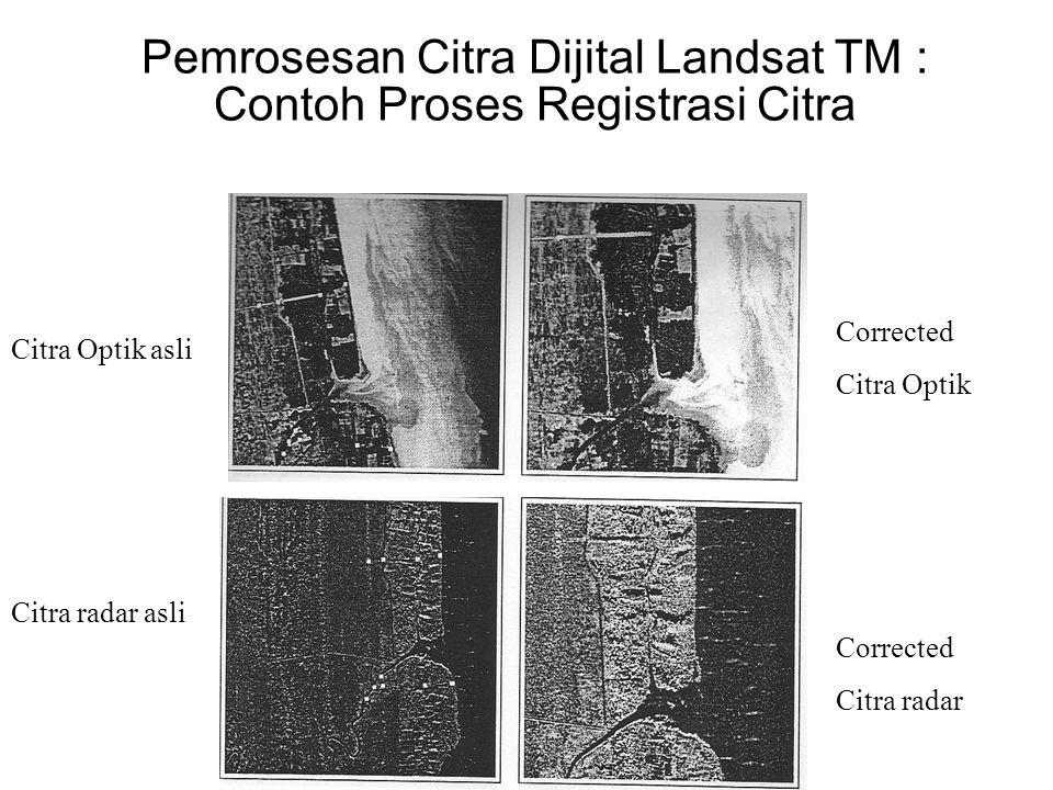 Pemrosesan Citra Dijital Landsat TM : Contoh Proses Registrasi Citra Corrected Citra Optik Corrected Citra radar Citra Optik asli Citra radar asli