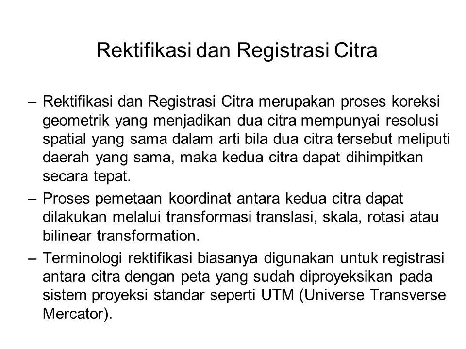 Rektifikasi dan Registrasi Citra –Rektifikasi dan Registrasi Citra merupakan proses koreksi geometrik yang menjadikan dua citra mempunyai resolusi spa