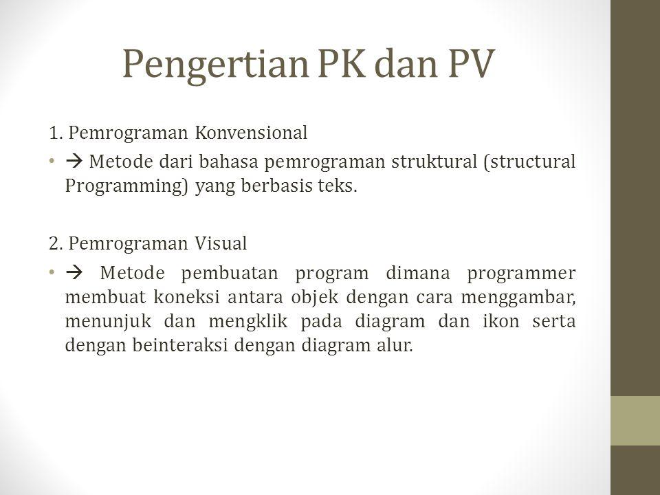 Pengertian PK dan PV 1. Pemrograman Konvensional  Metode dari bahasa pemrograman struktural (structural Programming) yang berbasis teks. 2. Pemrogram
