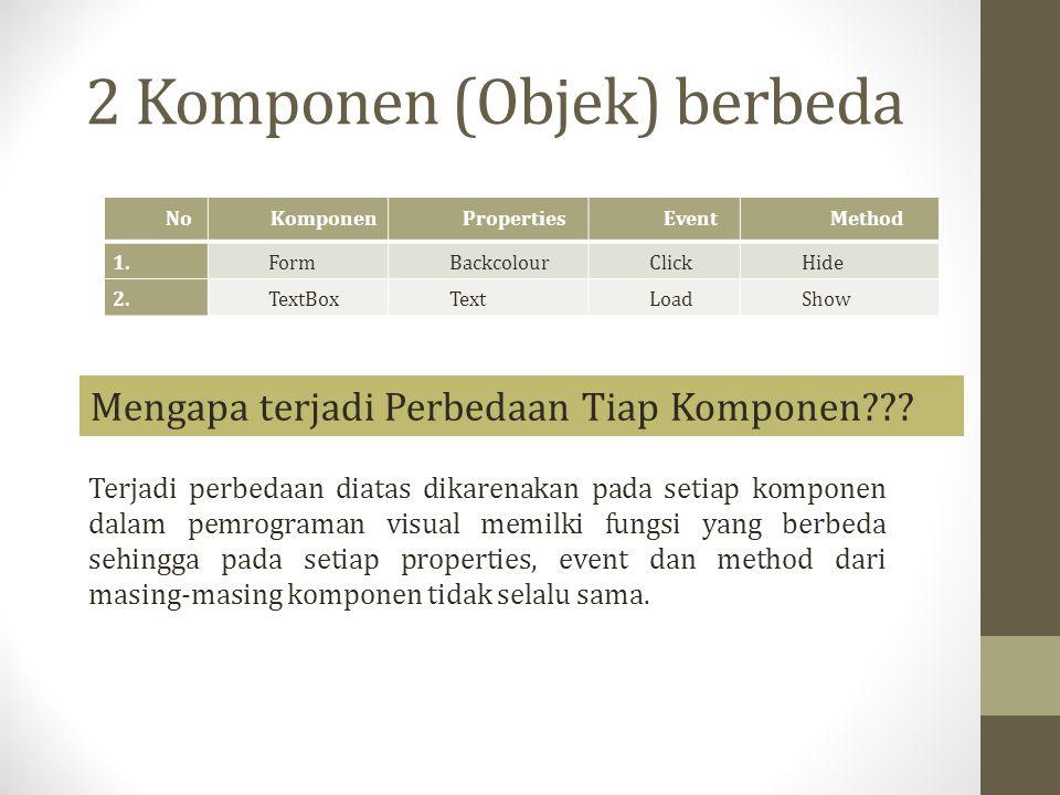 2 Komponen (Objek) berbeda NoKomponenPropertiesEventMethod 1.