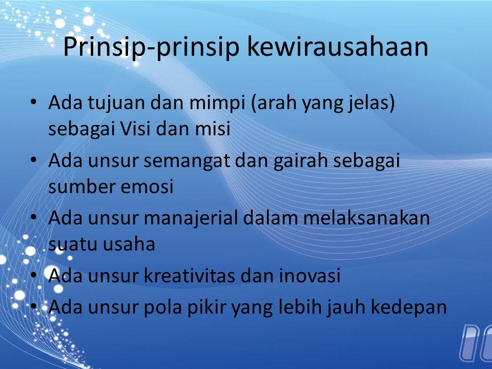Prinsip-prinsip kewirausahaan Ada tujuan dan mimpi (arah yang jelas) sebagai Visi dan misi Ada unsur semangat dan gairah sebagai sumber emosi Ada unsu