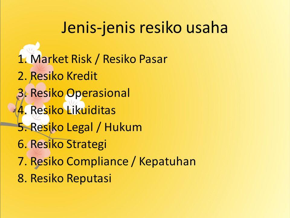 Jenis-jenis resiko usaha 1. Market Risk / Resiko Pasar 2. Resiko Kredit 3. Resiko Operasional 4. Resiko Likuiditas 5. Resiko Legal / Hukum 6. Resiko S