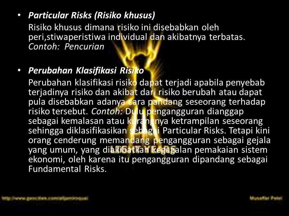 Particular Risks (Risiko khusus) Risiko khusus dimana risiko ini disebabkan oleh peri,stiwaperistiwa individual dan akibatnya terbatas. Contoh: Pencur