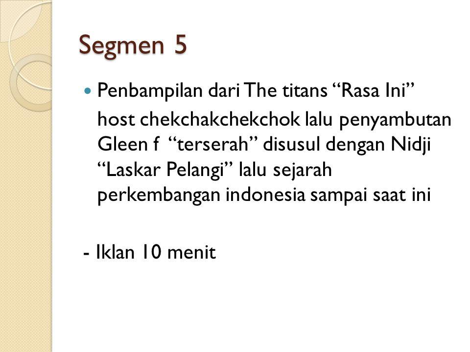 Segmen 5 Penbampilan dari The titans Rasa Ini host chekchakchekchok lalu penyambutan Gleen f terserah disusul dengan Nidji Laskar Pelangi lalu sejarah perkembangan indonesia sampai saat ini - Iklan 10 menit