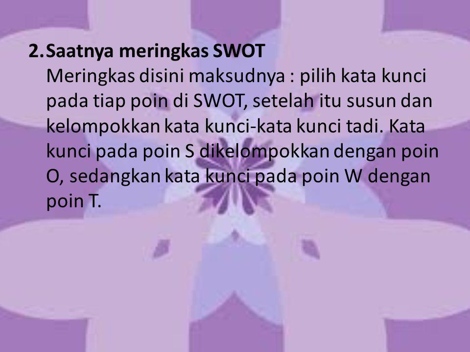 2.Saatnya meringkas SWOT Meringkas disini maksudnya : pilih kata kunci pada tiap poin di SWOT, setelah itu susun dan kelompokkan kata kunci-kata kunci tadi.