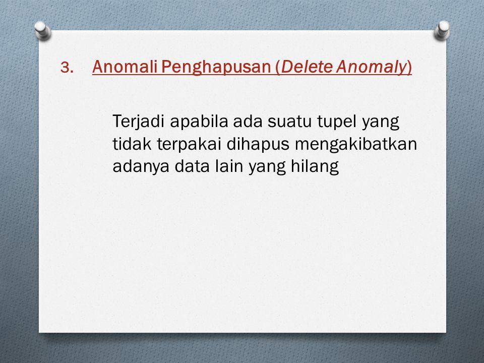 3. Anomali Penghapusan (Delete Anomaly) Terjadi apabila ada suatu tupel yang tidak terpakai dihapus mengakibatkan adanya data lain yang hilang