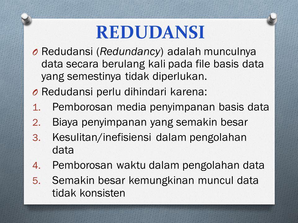 REDUDANSI O Redudansi (Redundancy) adalah munculnya data secara berulang kali pada file basis data yang semestinya tidak diperlukan. O Redudansi perlu