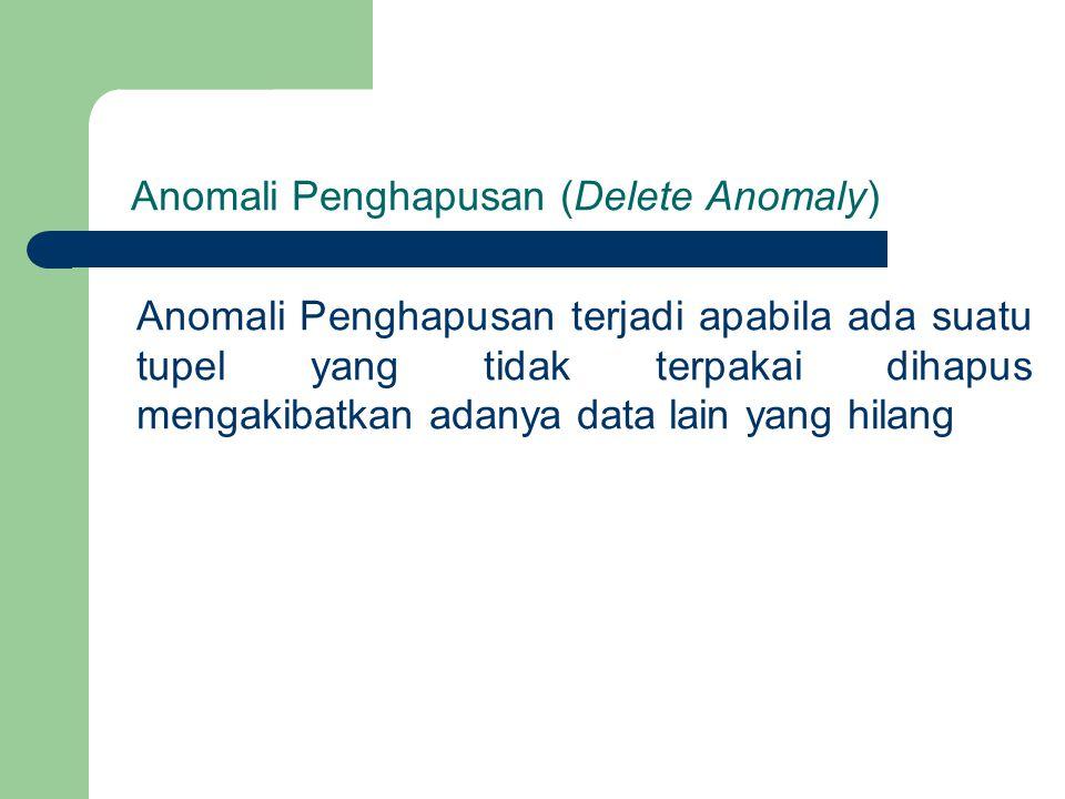 Anomali Penghapusan (Delete Anomaly) Anomali Penghapusan terjadi apabila ada suatu tupel yang tidak terpakai dihapus mengakibatkan adanya data lain ya