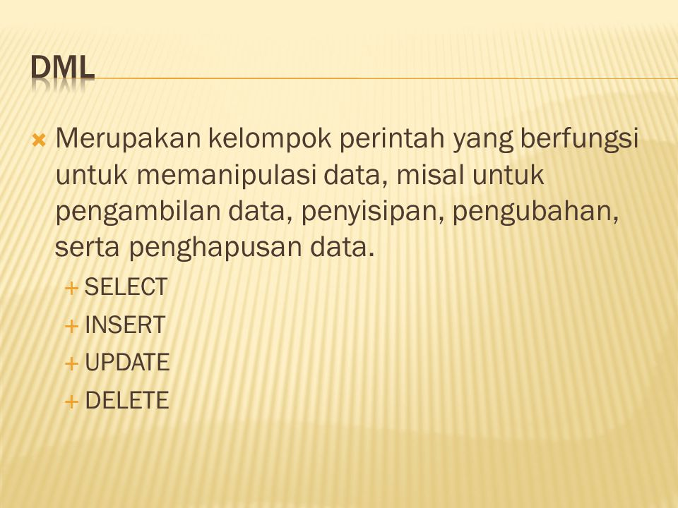  Berisi perintah untuk mengendalikan pengaksesan data.