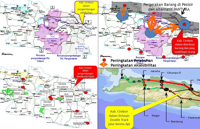 Rencana pengembangan Pel. Cidaun Rencana pengembangan Pel. Pangandaran Target hinterland baru Pel. Cirebon: WP Tengah Hinterland eksisting Pel. Cirebo